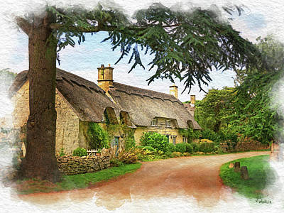 Digital Art - Thatched Roof Lane by Joe Winkler