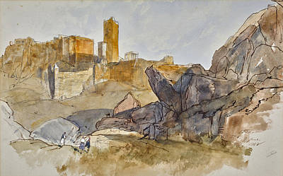 Drawing - The Acropolis, Athens by Edward Lear