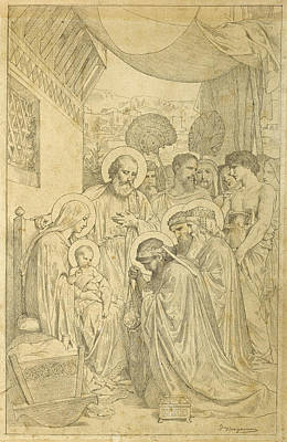 Drawing - The Adoration Of The Magi by William-Adolphe Bouguereau