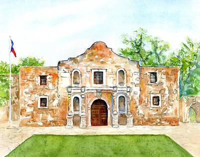 Painting - The Alamo Mission Texas by CarlinArt Watercolor