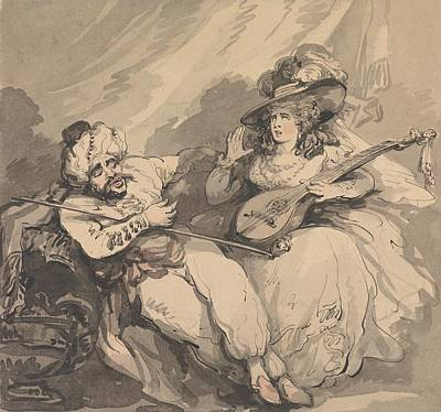 Drawing - The Amorous Turk by Thomas Rowlandson