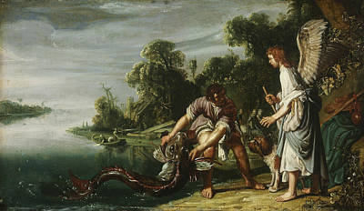 Painting - The Angel And Tobias With The Fish by Pieter Lastman