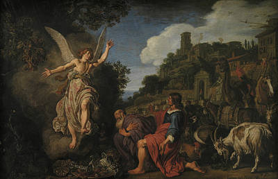 Painting - The Angel Raphael Takes Leave Of Old Tobit And His Son Tobias by Pieter Lastman