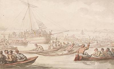Drawing - The Annual Sculling Race For Doggett's Coat And Badge by Thomas Rowlandson