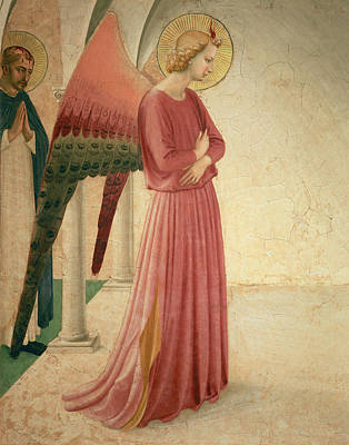 Painting - The Annunciation, Detail Of The Angel Gabriel And St Peter The Martyr, 1442 by Fra Angelico