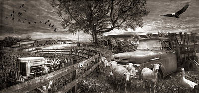 Photograph - The Appalachian Farm Life In Sepia Tones by Debra and Dave Vanderlaan