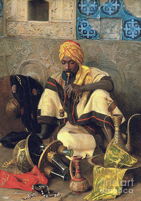 Painting - The Arab Smoker  by Jean Discart