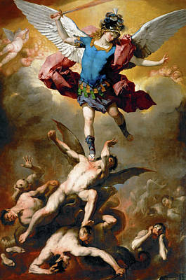 Painting - The Archangel Michael Hurls The Rebellious Angels Into The Abyss by Luca Giordano