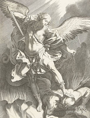 Drawing - The Archangel St Michael Defeating The Devil, Engraving by Guido Reni