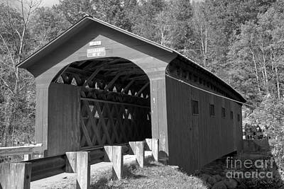 Photograph - The Arlington Green Covered Bridge Black And White by Adam Jewell