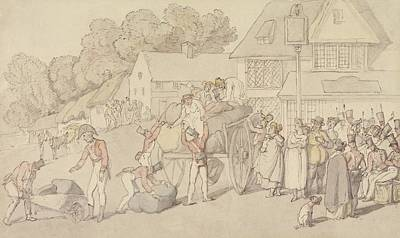Drawing - The Arrival Of A Company Of Militia At An Inn by Thomas Rowlandson