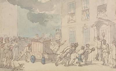 Drawing - The Arrival Of The Fire Engine by Thomas Rowlandson