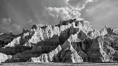 Photograph - The Badlands In Black And White by Jim Thompson