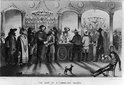The Bar Of A Gambling Saloon Art Print by Fotosearch