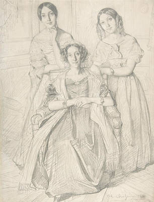 Drawing - The Baroness Duperre And Her Daughters by Theodore Chasseriau