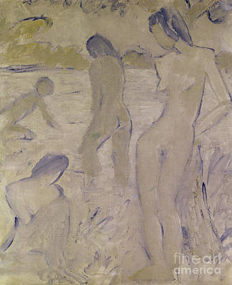 Painting - The Bathers, 20th Century By Muller Or Mueller by Otto Muller