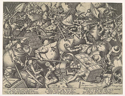 Drawing - The Battle About Money by Pieter van der Heyden