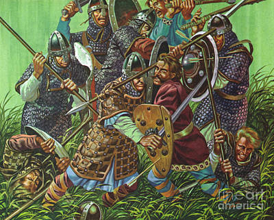 Painting - The Battle Of Hastings, 1066 Ad, Fought With Spears, Swords And Axes  by Ron Embleton