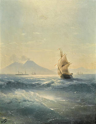 Painting - The Bay Of Naples With Mount Vesuvius by Ivan Konstantinovich Aivazovsky
