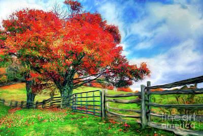 Painting - The Beauty Of A Blue Ridge Autumnl Ap by Dan Carmichael