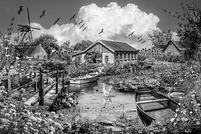 Photograph - The Beauty Of Flowers In Holland Black And White by Debra and Dave Vanderlaan