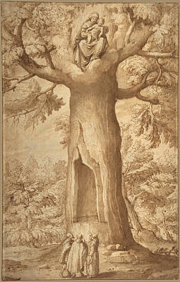 Drawing - The Beech Tree Of The Madonna At La Verna by Jacopo Ligozzi