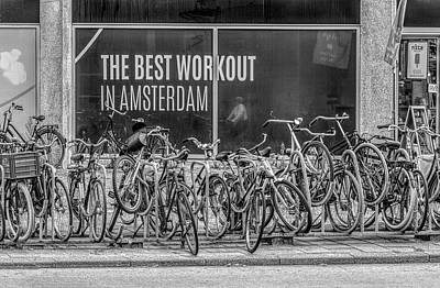 Photograph - The Best Workout In Amsterdam Black And White by Debra and Dave Vanderlaan