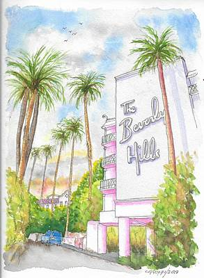 Painting - The Beverly Hills Hotel In Sunset Blvd., Beverly Hills, California by Carlos G Groppa