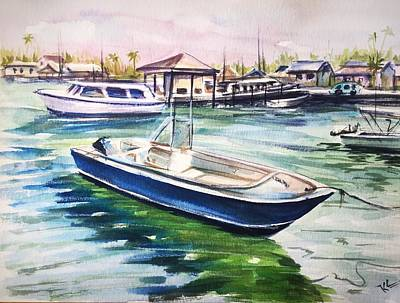 Painting - The Blue Boat by Katerina Kovatcheva