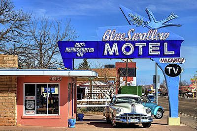 Photograph - The Blue Swallow Motel On Route 66 by JC Findley