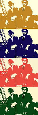 Landmarks Painting Royalty Free Images - The Blues Brothers John Belushi e Dan Aykroyd vintage version Royalty-Free Image by Artista Fratta