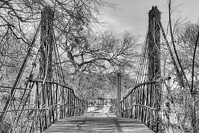 Photograph - The Bluff Dale Suspension Bridge Black And White by JC Findley