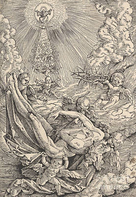 Drawing - The Body Of Christ Carried By Angels Towards Heaven, 1516  by Hans Baldung Grien