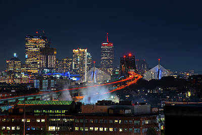 Photograph - The Boston Skyline Lit Up In Red Sox Colors Game 1 World Series 2018 by Toby McGuire