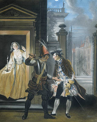 Pastel - The Bribery Scene From The Second Company Of The Comedy Hopman Ulrich Or The Cheated Stinginess by Cornelis Troost