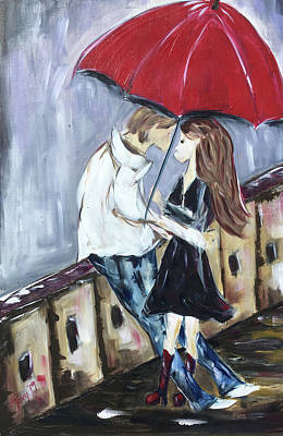 Contemporary Painting - The Bridge To Romance by Roxy Rich