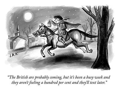 Ride Drawing - The British Are Probably Coming by Jason Adam Katzenstein