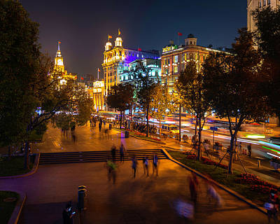 Photograph - The Bund, Shanghai At Night by Jeff Lucas
