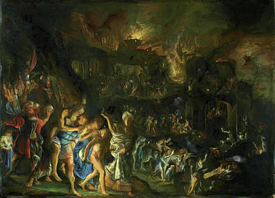 Painting - The Burning Of Troy  by Adam Elsheimer