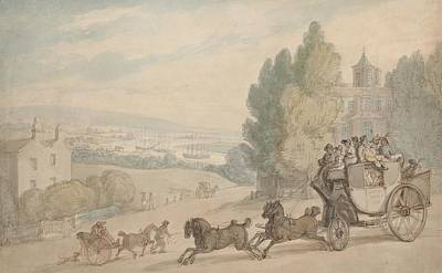 Drawing - The Canterbury - Dover Coach Passing Vanbrugh Castle by Thomas Rowlandson
