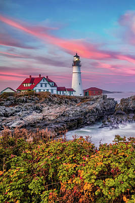 Royalty-Free and Rights-Managed Images - The Cape in Autumn - Maines Portland Head Lighthouse by Gregory Ballos