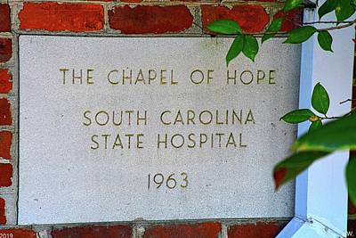 Photograph - The Chapel Of Hope South Carolina State Hospital 1963 by Lisa Wooten