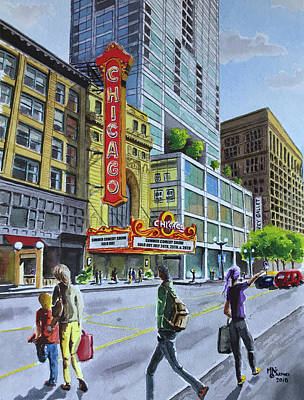 Painting - The Chicago Theatre on State Street by Monika Arturi