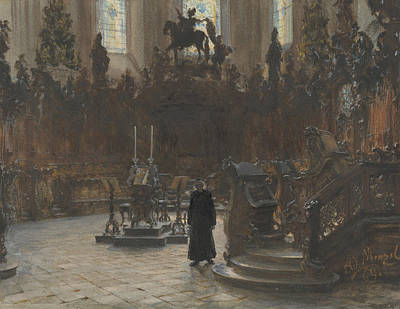 Drawing - The Choirstalls In The Mainz Cathedral by Adolph Menzel