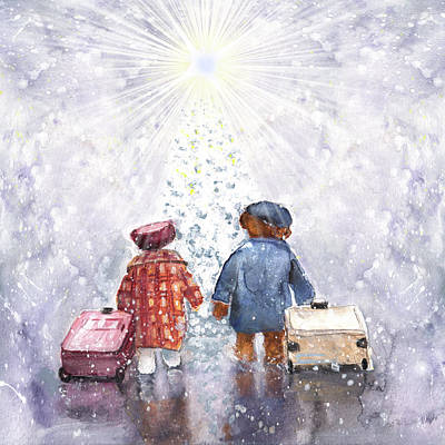 Painting - The Christmas Heathrow Bears by Miki De Goodaboom