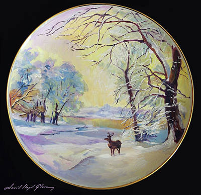 Painting - The Christmas Reindeer by David Lloyd Glover