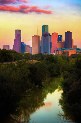 Photograph - The City Of Houston Skyline By The Water by Moreiso