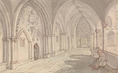 Drawing - The Cloisters Of A Monastery by Thomas Rowlandson