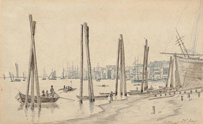Drawing - The Coastline Of Altona Seen From The East by Martinus Rorbye