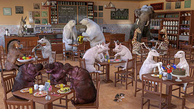 Surrealism Digital Art - The Coffee Shop by Betsy Knapp